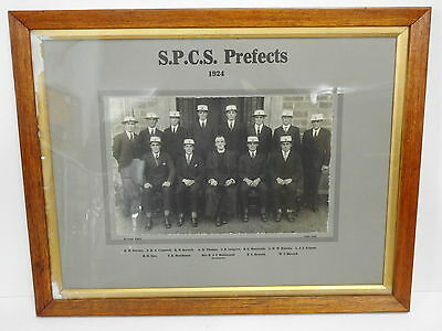 1924 St Peters College Prefects / Headmaster Framed Photograph / South Australia