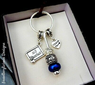 Beautiful NUMBER 1 STAR TEACHER THANK YOU  Heart Blue Bead Keyring Key Ring