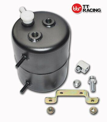 "2L TT Racing Brake Vacuum Reservoir Tank Black / Chrome 6.75"" TALL X 5"" LONG"