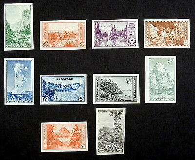 USA - 1935, National Parks Year Imperf Issue, Scott #756-765