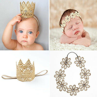 Newborn Baby Girls Infant Toddler Cute Crown Flower Headband Hair Band Headwear