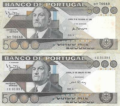 Portugal 2 x 5000 Escudos Banknotes 1980 -1981 Very Fine - Extremely Fine
