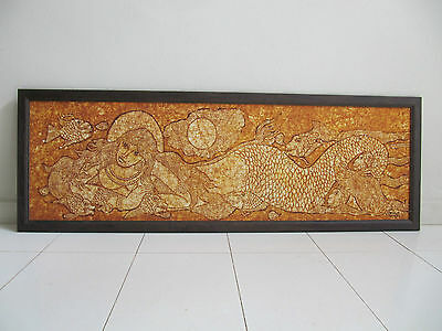 Beautiful framed batik art on fabric - Mythical Mermaid from Lombok Indonesia