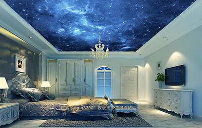 3D Dark Blue Night Sky Wallpaper Ceiling Decals Wall Art Print