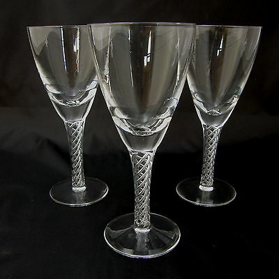 STUART crystal white wine glasses ~ Arial / Iona pattern ~ Air twist stems