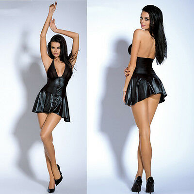 Ensemble robe sexy clubwear simili cuir tenue sexy