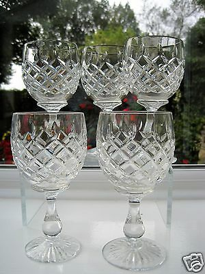 "Royal Brierley 5 Large Wine Glasses  5.75""  High Cross & Leaf Cut Not Signed"