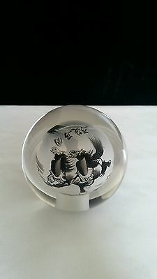 Chinese Asian Reverse Painted Glass Globe Horses Paperweight