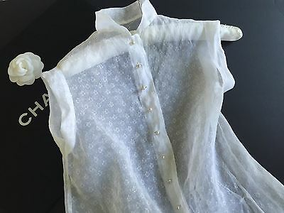 Stunning 1940's Vintage Blouse Small Floral Organdi White Ex-small