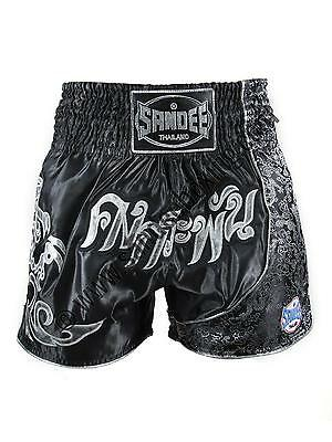 Sandee Unbreakable Black/Silver Muay Thai Kick Boxing Shorts