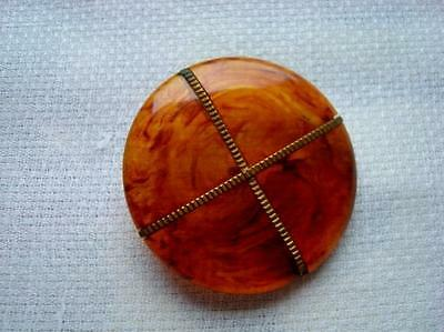 Vintage Faux Tortoise Shell Bakelite Button Brass X Inlay Tested 1 5/8 In.