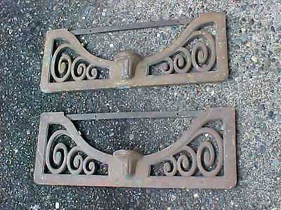 2 Architectural Salvage Antique Cast Bronze Ornate Building Pediment Panels PAIR