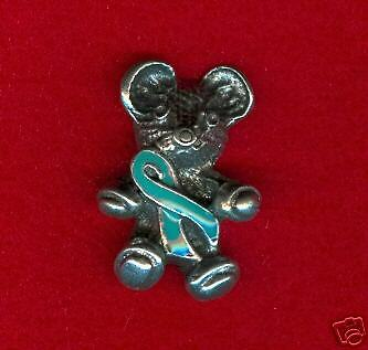 Zoo Animal Teddy Bear 3 Ovarian Cancer Teal Ribbon Awareness Pins All All New.