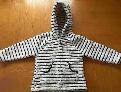 Next Girls Stripe Fleece Hooded Jacket Age 2-3 Bnwt