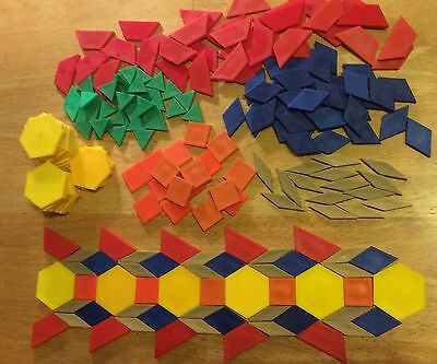 Set 200+ Thick Pattern Blocks Parquetry Shapes - Math Manipulative For Geometry