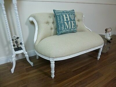 French Charroux Two Seater Chair In White With Oatmeal Fabric