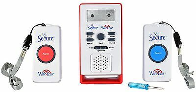 Secure Wireless Two Patient Call Button and Caregiver Pager Nurse Call Alert ...