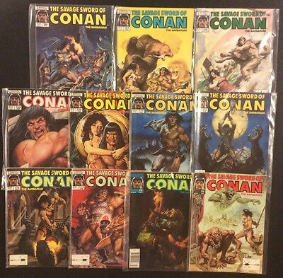SAVAGE SWORD OF CONAN Comic Book Magazine #166 - 176 Lot of 11 Marvel 1989 VF