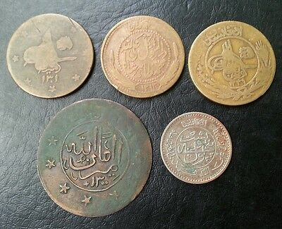 Afghanistan Lot Of 5 Different Copper Coins L@@k!