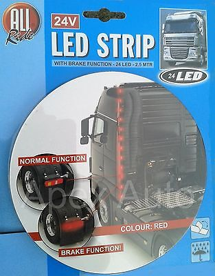 24V Red LED Strip with BRAKE FUNCTION 2.5 Meters 24 LED - SCANIA Truck HGV Lorry