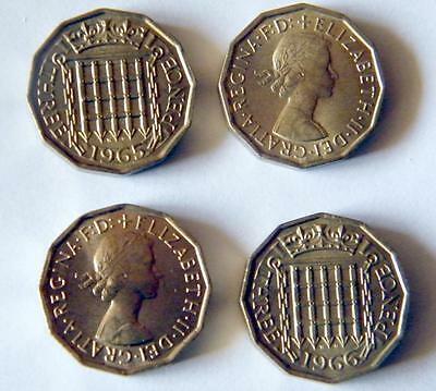 1965 and 1966 UNC threepenny bits -post free in UK