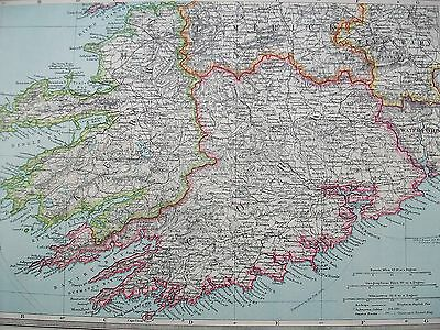 1908 Harmsworth Map Killarney & South West Ireland Kerry Cork Waterford Tralee