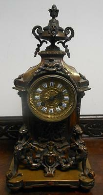 ornate victorian french striking bronze mantel clock om stand