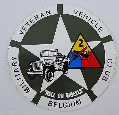 Aufkleber MILITARY VETERAN VEHICLE CLUB BELGIUM Hell on Wheels Willys Jeep