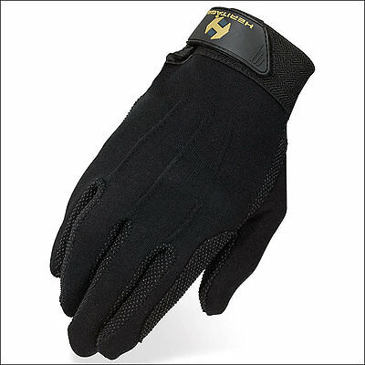 10 Size Heritage Stretchable Cotton Grip Glove Horse Riding Equestrian Black