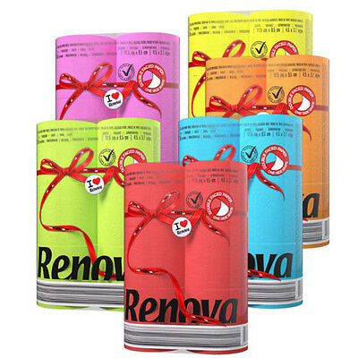 Renova Red Label Toilet Paper 6 Different Colors Rolls 6 Pack