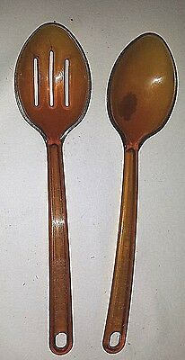 """Two Vintage Ultratemp Spoons By Robinson Knife Co. 11"""" Length"""