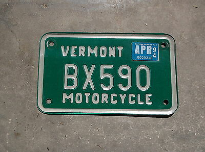 Vermont 1994 motorcycle License Plate  #  BX590