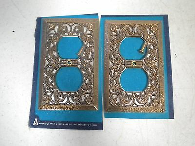 2 Gold Brass Metal FILIGREE Outlet Covers, Vintage American Tack & Hardware NOS