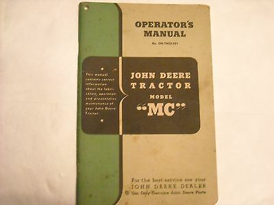"Vintage John Deere Model ""MC"" Series Tractor Operator's Manual"