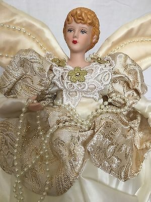 Porcelain Victorian Christmas Angel Tree Topper Ornament Ivory Gown 14.5""