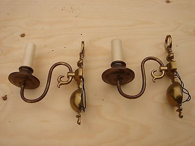 Vintage Pair Brass Wall Sconces