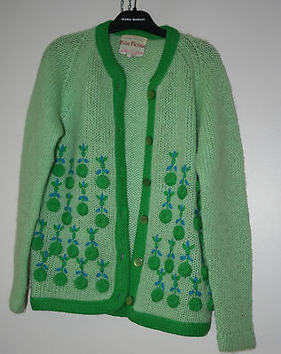 Vtg 50s Green Embroidered Mohair Wool Knit Cardigan Sweater S/M