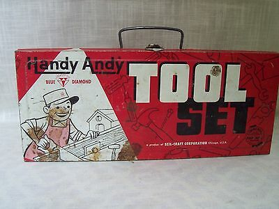 Vintage HANDY ANDY Childs Toy Toolbox Metal Empty
