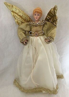 """Porcelain Victorian Christmas Angel Tree Topper Ornament Ivory Gold 14.25"""""""