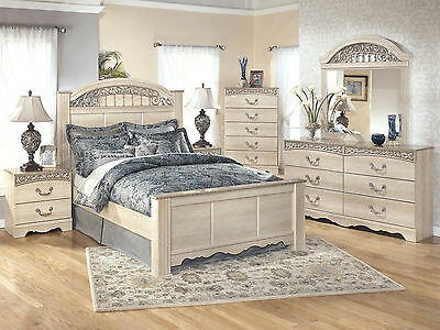 HUNTER - 5pcs Traditional Cottage White Queen King Panel Bedroom Set Furniture