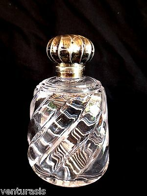 John Grinsell & Sons Crystal Scent Bottle w/ Hinged Sterling Silver Top Antique