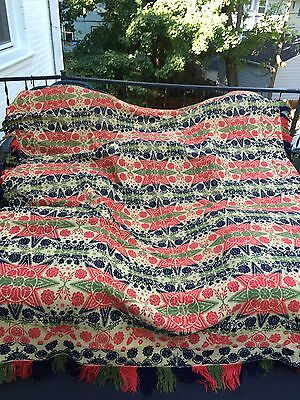 Antique 19th Century Pennsylvania Folk Art Jacquard Wool Coverlet Blanket