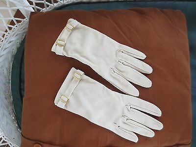 Groovy pale latte vintage dress gloves with gold-toned buckles size 6.5