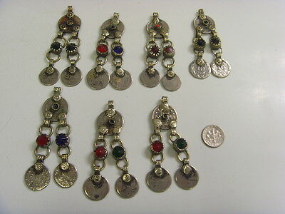vintage 7 large Islamic coin decorated pendants lot kuchi tribal bellydance 4776