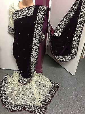 Diamante Half Velvet Half Net Saree Pleated/sari Salwar Kameez Churidar Lenga
