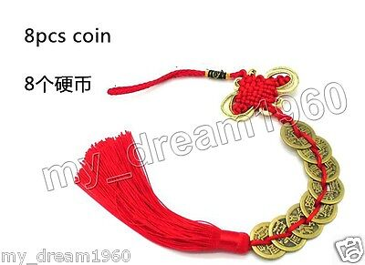 8pcs Coin Red Chinese Knot Hanging Tassel Wealth Good Luck Prosperity Feng Shui