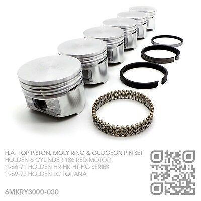 "186+030"" Flat Top Pistons & Moly Rings 6 Cyl Red Motor Holden Lc Gtr-Xu1 Torana"
