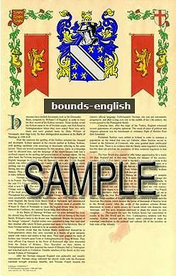 BOUNDS Armorial Name History - Coat of Arms - Family Crest GIFT! 11x17