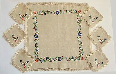 Natural Linen Hand Embroidered Centerpiece with 6 Matching Coasters