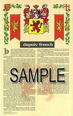 DUPUIS Armorial Name History - Coat of Arms - Family Crest GIFT! 11x17